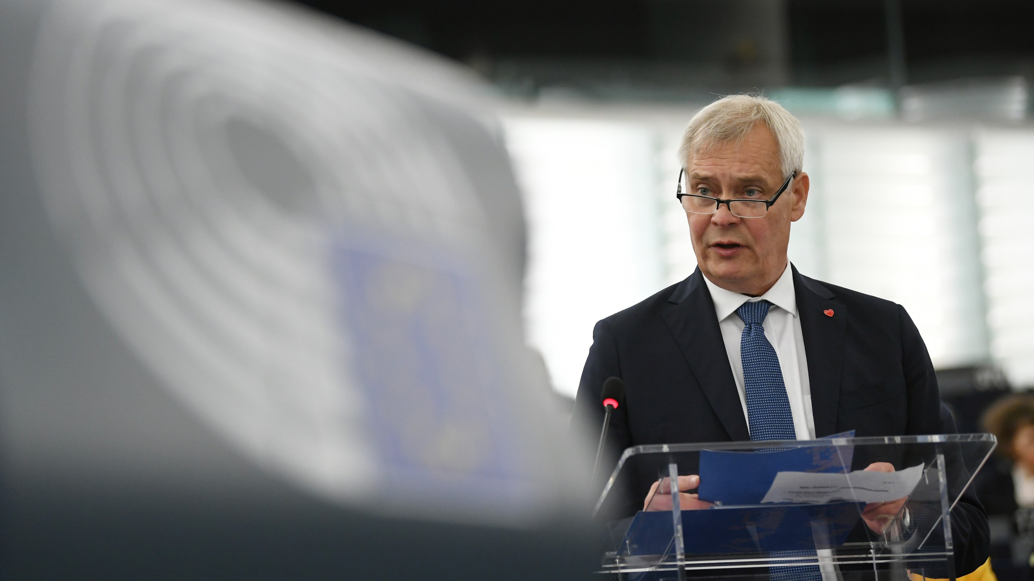 Finnish Prime Minister Antti Rinne delivers his speech about the the priorities of the incoming Finnish presidency at the European Parliament. (EPA-EFE/PATRICK SEEGER)