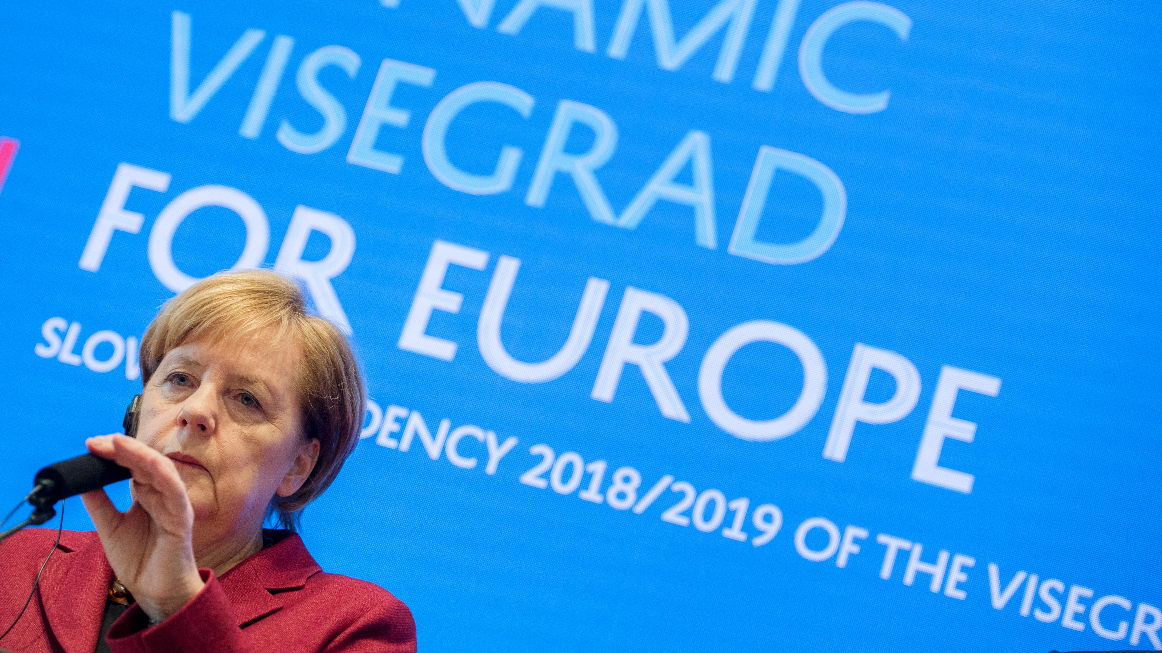 Angela Merkel at the meeting of V4+ in Bratislava. (TASR/Martin Baumann)
